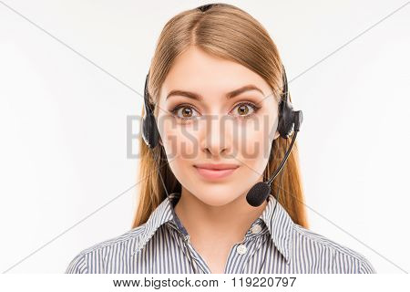 Close Up Portrait Of Young  Agent Of Call Centre