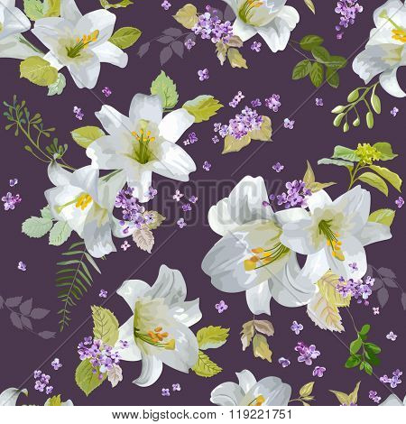 Spring Lily Flowers Backgrounds - Seamless Floral Shabby Chic Pattern - in vector