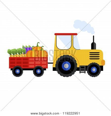 Farm tractor. Tractor on white background with harvest. Farm tractor icon. Farm equipment. Farm transport. Farm tractor isolated. Farm tractor sign. Farm truck. Vector tractor on white background.