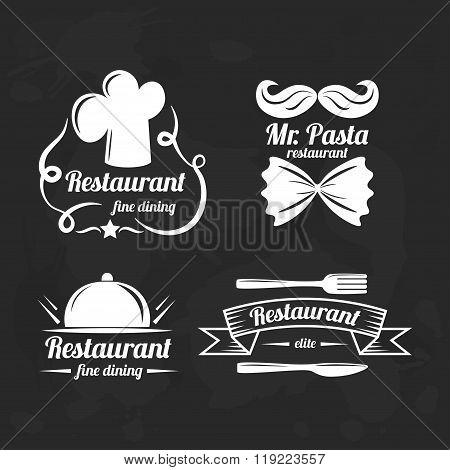 Restaurant logo elements. Set of flat logotypes for restaurants.