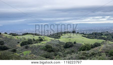 Aerial views of San Francisco South Bay at dusk from Fremont Older Open Space Preserve.