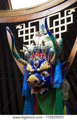 Buddhist ritual mask depicting a blue bull