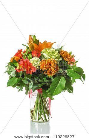 Bouquet Of  Brassica, Rose, Alstroemeria, Hydrangea, Chrysanthemum, Lilium, Dianthus.