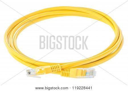 Yellow Network Cable Isolated Against White Background.