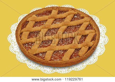 short crust tart with apricot jam