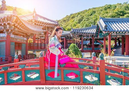 Woman With Hanbok In Gyeongbokgung,the Traditional Korean Dress.