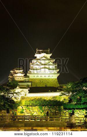Himeji Jo Castle Front Center Light Bridge Night V