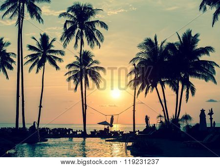 Magical sunset on the tropical coast in South-East Asia.