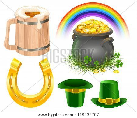 Patricks Day Symbols. Mug of irish beer, rainbow, leprechaun hat, pot coins, golden horseshoe