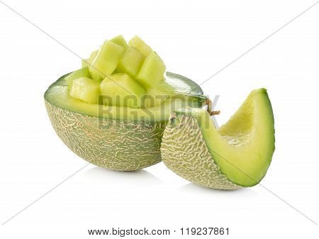 Half And Portion Cut Ripe Honeydew Melon On White Background