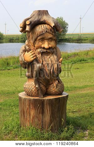 Wood goblin. Wooden sculptures based on Pushkin's fairy tales.