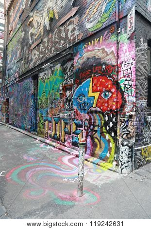 Graffiti art by unidentified author at  Hosier lane in Melbourne