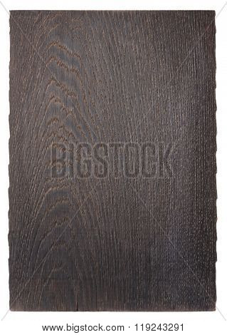 Black old oak cutting board isolated on white background