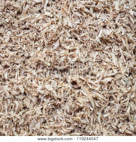 Pile Of Wood Sawdust For Background, Texture