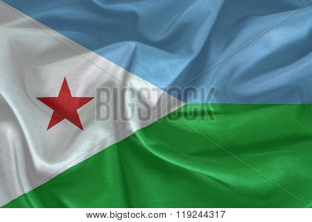 Flag of Djibouti pattern on the fabric texture