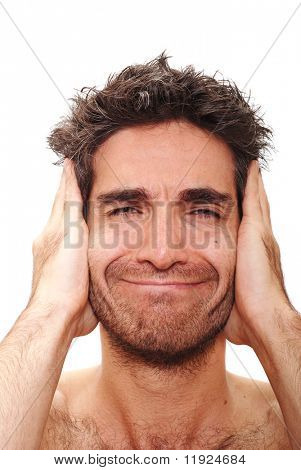 Man with crazy facial expression