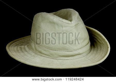 Bush Hat With Turned-up Brim On Black Background