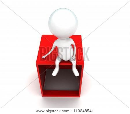 3D Man Sitting On Top Of Opened Box Concept