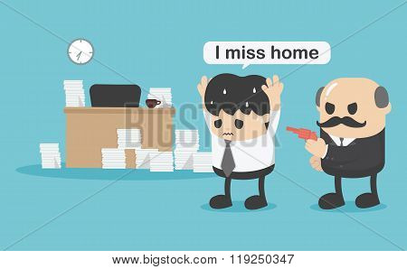 Concept Businessman Did Not Return Home,i Miss Home