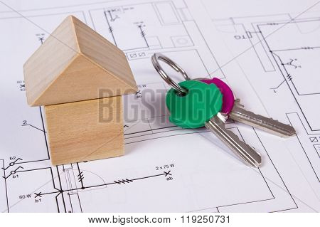 House Of Wooden Blocks And Keys On Construction Drawing Of House, Building House Concept
