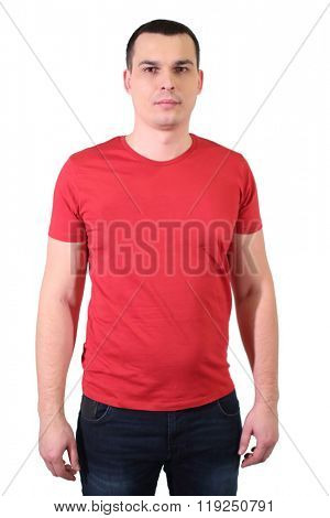 Portrait of a handsome man in red T-shirt isolated on white