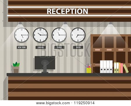 wooden reception interior