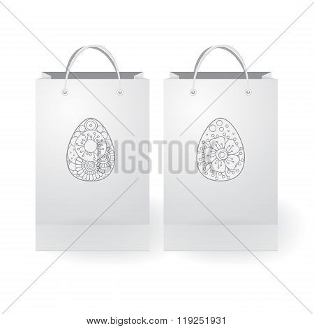 Set Of Stock Vector Isolated Paper Shopping Bag On The White Background