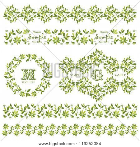 Vector Flower Wreath and Decorative Floral Element