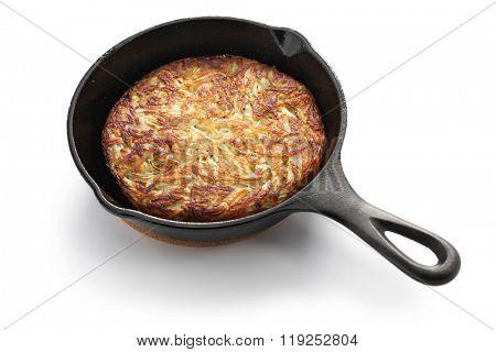 Rosti, Swiss potato pancake in frying pan