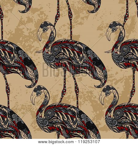 Flamingo decorated with floral ornaments on grunge background. Vintage colorful seamless pattern. Ha