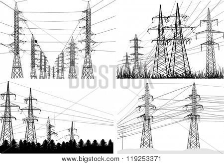 illustration with electric power pylons collection isolated on white background