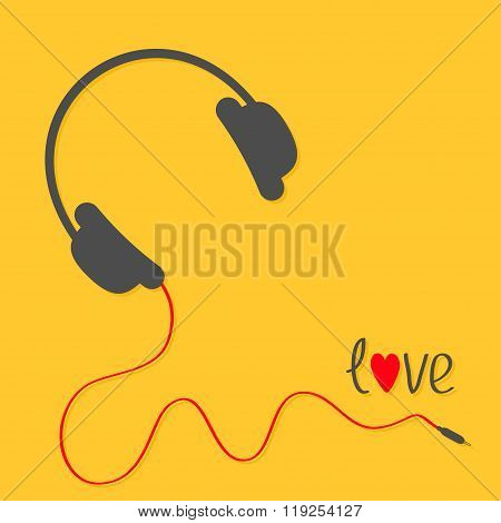 Headphones With Red Cord. Love Card. Black Text. Flat Design Icon. Yellow Background