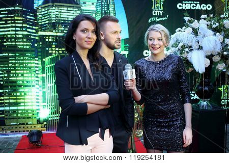 MOSCOW - APR 26, 2015: Group Yin-Yang at a party in honor of the birthday the glossy magazine LF city in karaoke club Chicago