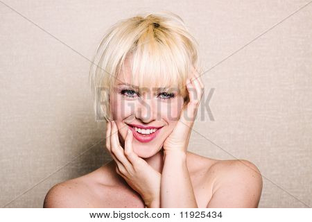 Beautiful blonde woman with smile
