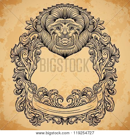 Antique border frame engraving with lion head and baroque cartouche ornament. Isolated elements. Vin