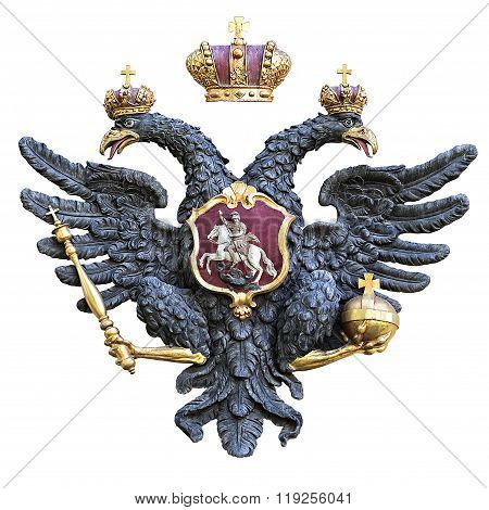 Russian Double-headed Eagle Isolated On White Background