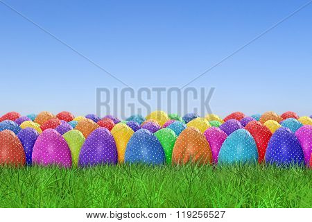 Easter egg harvest on sky background
