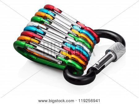 Colorful Carabiner Climbing