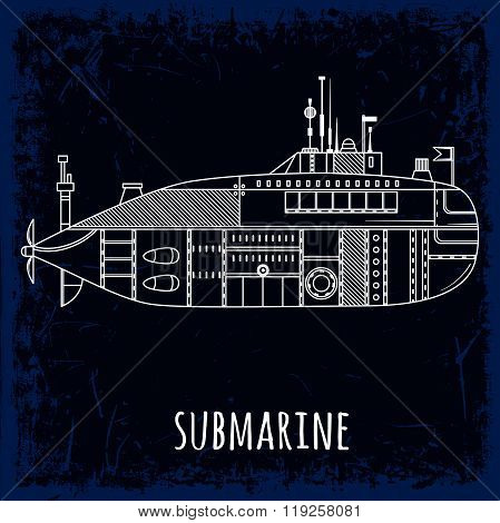 Submarine. Vintage hand drawn vector illustration in line art style on grunge background