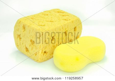 Yellow Synthetic Sponge On White Background.