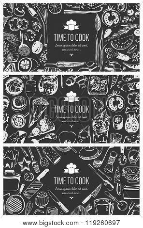 Food flyer set - kitchen tools, vegetables, food