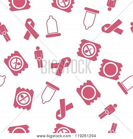 Contraception Seamless Seamless Flat Vector Pattern