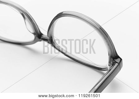 Female Eyeglasses Macro Detail Over A White Background