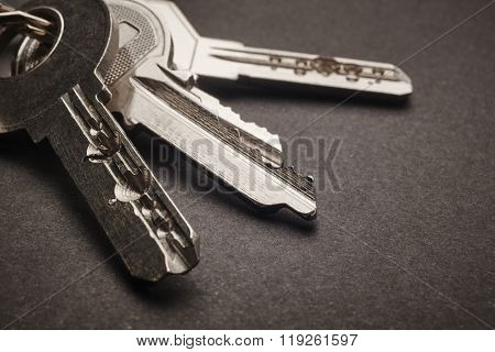 Keyring With Keys In Grey Tone Over A Black Background