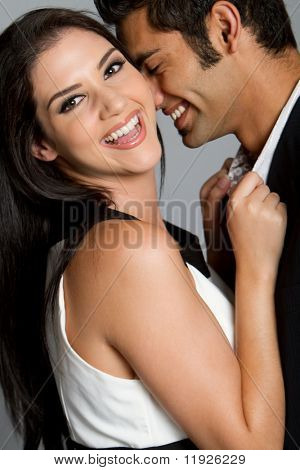 Young ethnic couple having a happy moment