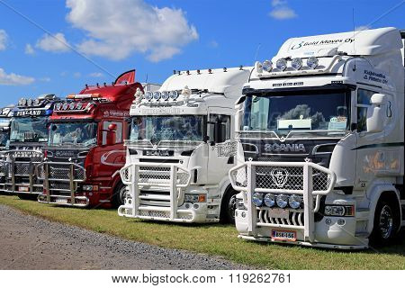 Lineup Of Scania Show Trucks