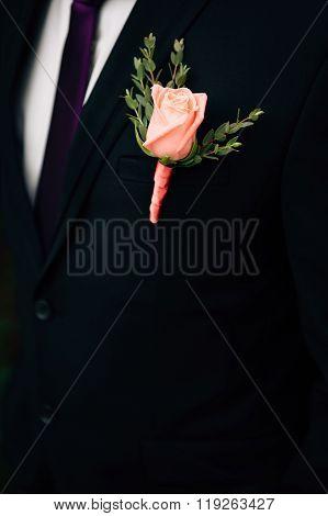 Wonderful Wedding Boutonniere On A Costume Of Groom