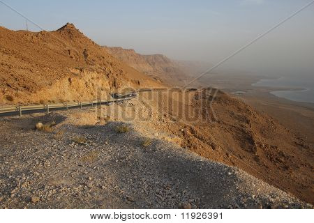 The way from Dead Sea to Desert of Judea, Israel