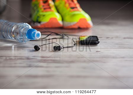 Accessories for sports, lying on the floor in a fitness club