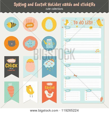 Easter greeting cards, tags, stickers and labels